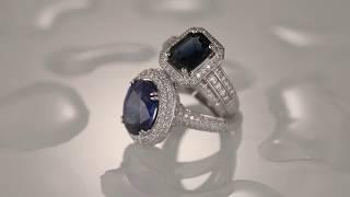 Кольцо с крупным сапфиром и бриллиантами