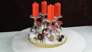 Adventskranz Ideen . Weihnachtsdeko mit Weingläsern .