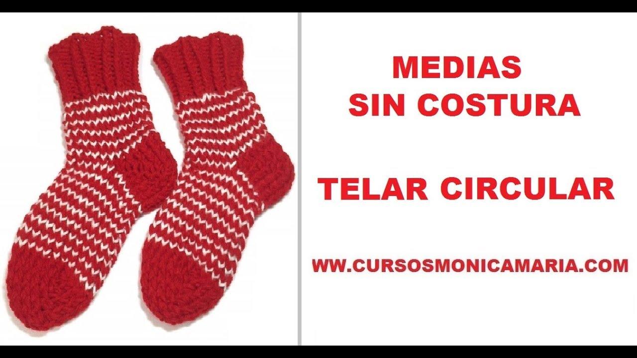 MEDIAS SIN COSTURA TELAR CIRCULAR // Tutorial Calcetines sin costura ...