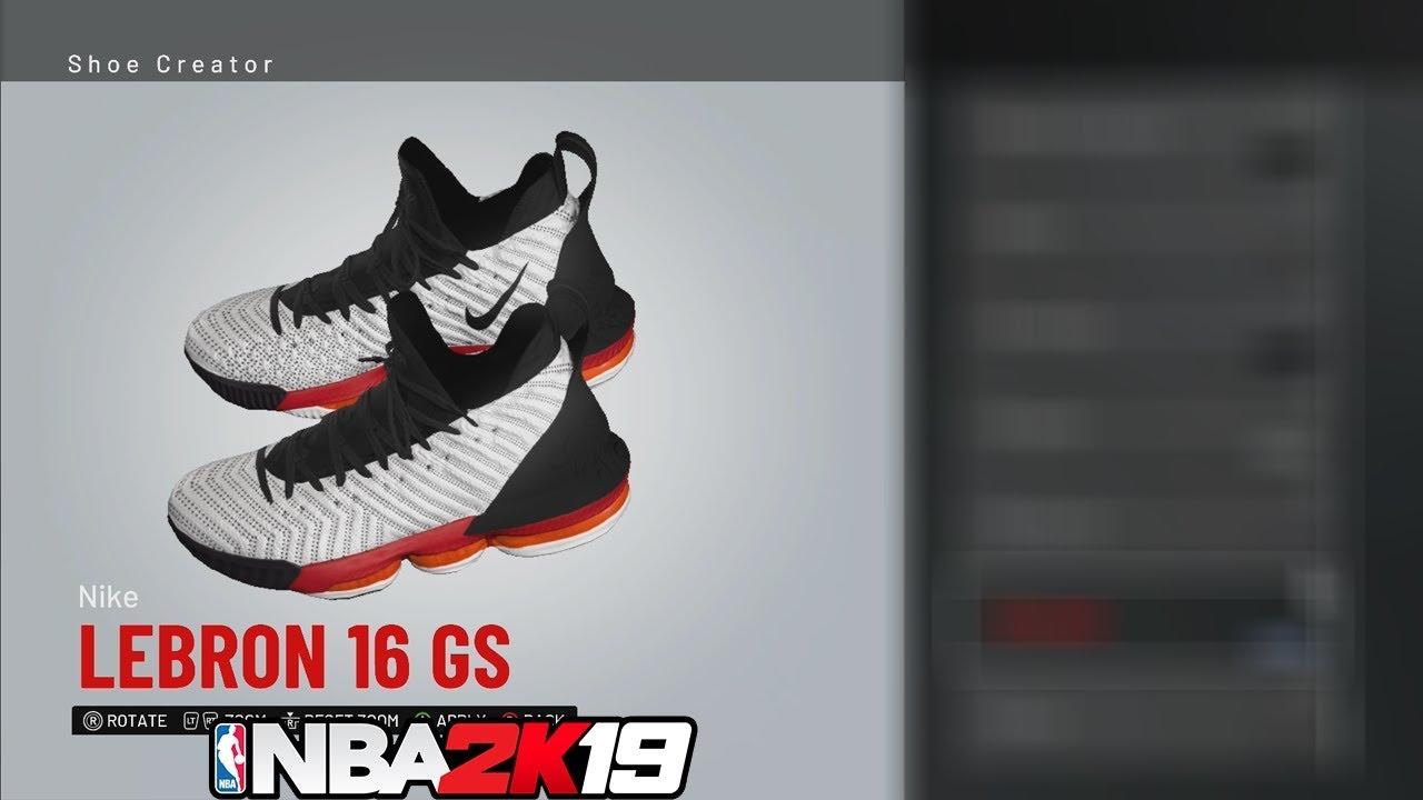 74bc8a3d7088 NBA 2K19 Shoe Creator LeBron 16 GS  NBA2K19 - YouTube
