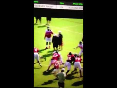 Terren Jones of Atlanta Falcons mauling defender