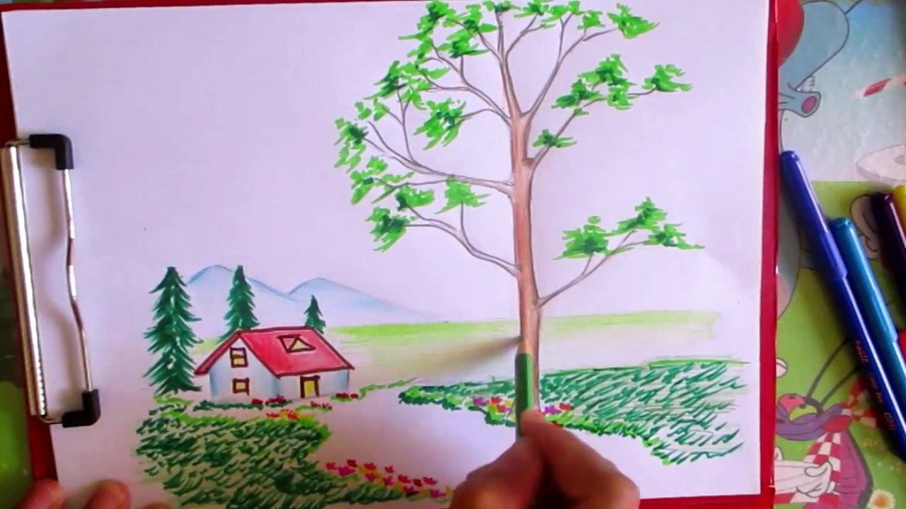 How To Draw And Coloring Mountain Scene Landscape Step By