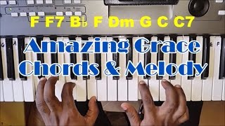 Gambar cover How To Play Amazing Grace - Piano Chords and Melody - Easy Piano Tutorial