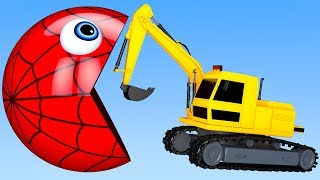 Learn Colors with PACMAN and Farm Excavator Watermelon Surprise Toy Street Vehicle for Kid