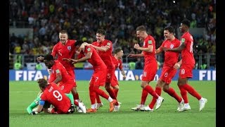 England beat Columbia on penalties. Everyone goes nuts