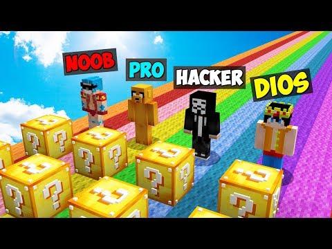 Minecraft: NOOB vs PRO vs HACKER vs DIOS 😱 DESAFÍO ÉPICO de LUCKY BLOCKS en Minecraft!