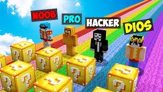 Minecraft: NOOB vs PRO vs HACKER vs DIOS 😱 DESAFÍO ÉPICO de LUCKY BLOCKS en Minecraft!