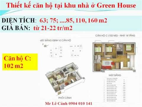 Bán chung cư GREEN HOUSE VIỆT HƯNG GIÁ GỐC @ Mr.Cảnh 0904 010 141