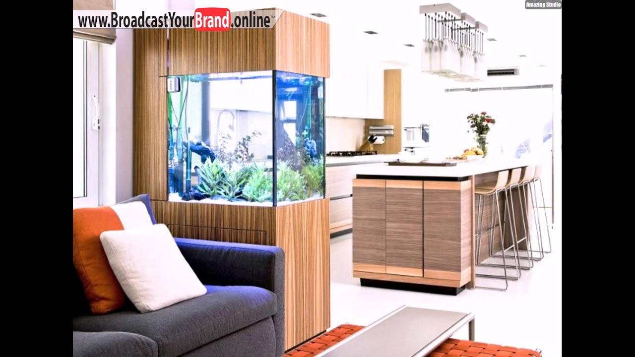 aquarium k che wohnzimmer trennwand holzverkleidung youtube. Black Bedroom Furniture Sets. Home Design Ideas
