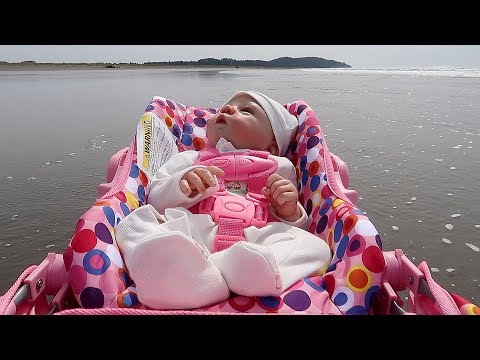 Reborn Baby Doll Goes to the Beach in Joovy Stroller and Car Seat