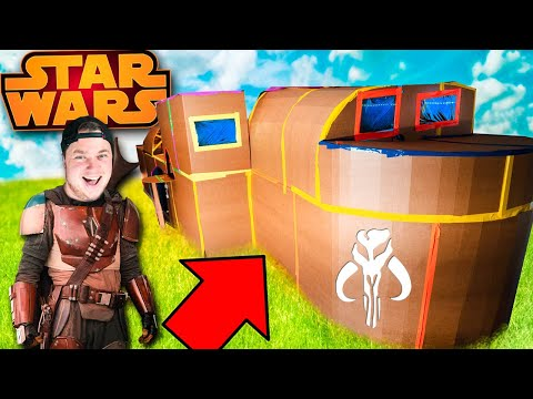 We Built Star Wars The Mandalorian Ship Box Fort (Challenge)