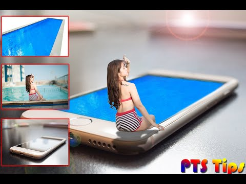 Photoshop Tips - Merging Beautiful girl, Iphone and Pool | Photoshop tutorial thumbnail
