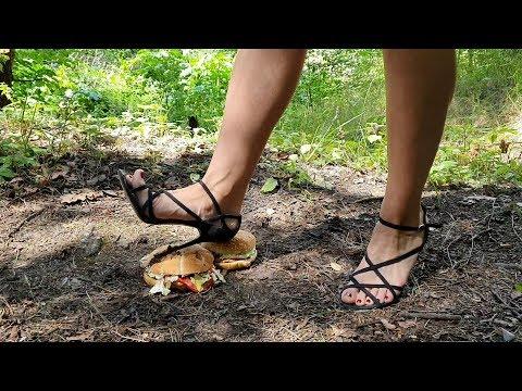 High Heels Crush Burgers, Shoes Crush, High Heels Crushing, Stomp Food With High Heels (scene 240)
