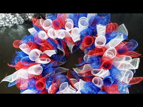 DIY: Patriotic Deco Mesh Wreath    Dollar Tree Under $10    4th Of July