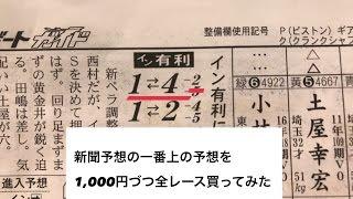 競艇新聞の一番上の予想を1,000円づつ全レース買ってみたらこうなった
