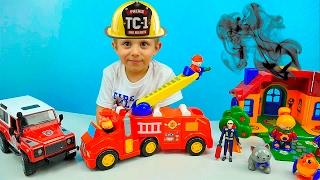 Машинки. Пожарная Машина Kiddieland и Пожарный Джип Брудер. Видео для ребёнка. Fire Trucks