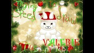 Trying to speed draw Valerie (my Webkinz Signature Arctic Hare) using Microsoft Paint