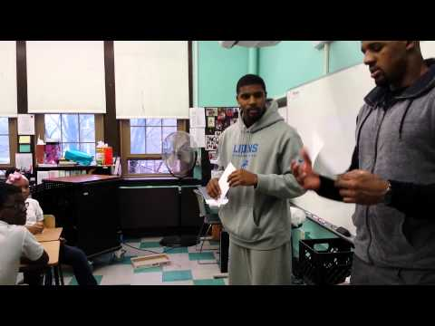 Don Carey and Brandon Hepburn of the Detroit Lions Visit Golightly Education Center