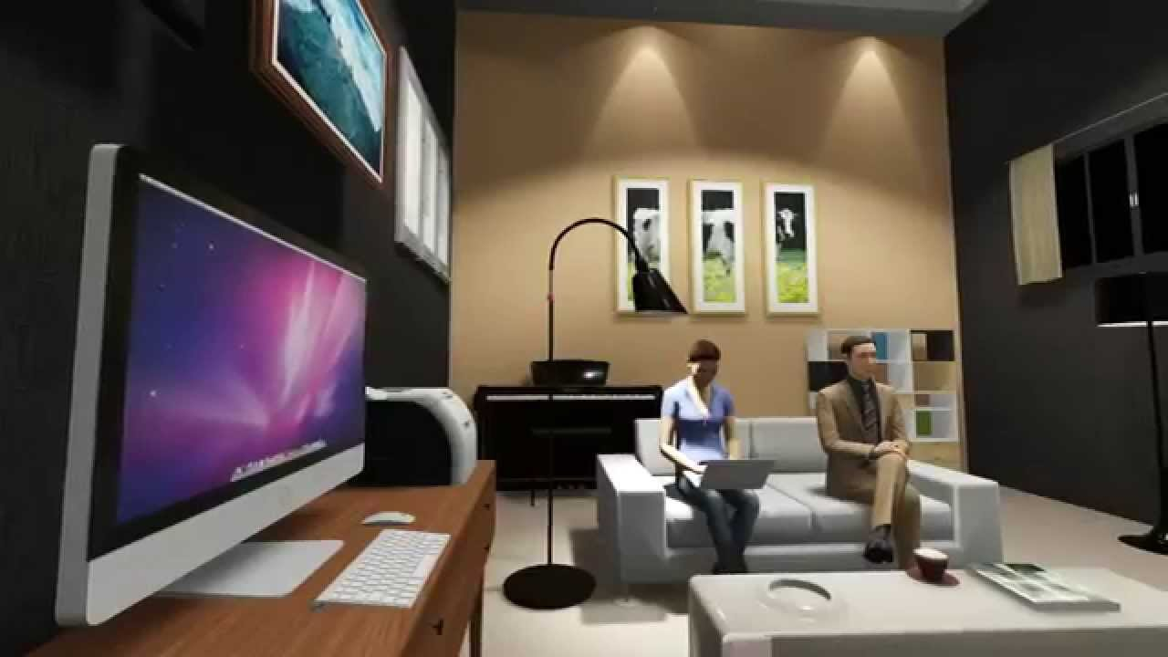 Interior lighting small modern house 3d visualizer lumion