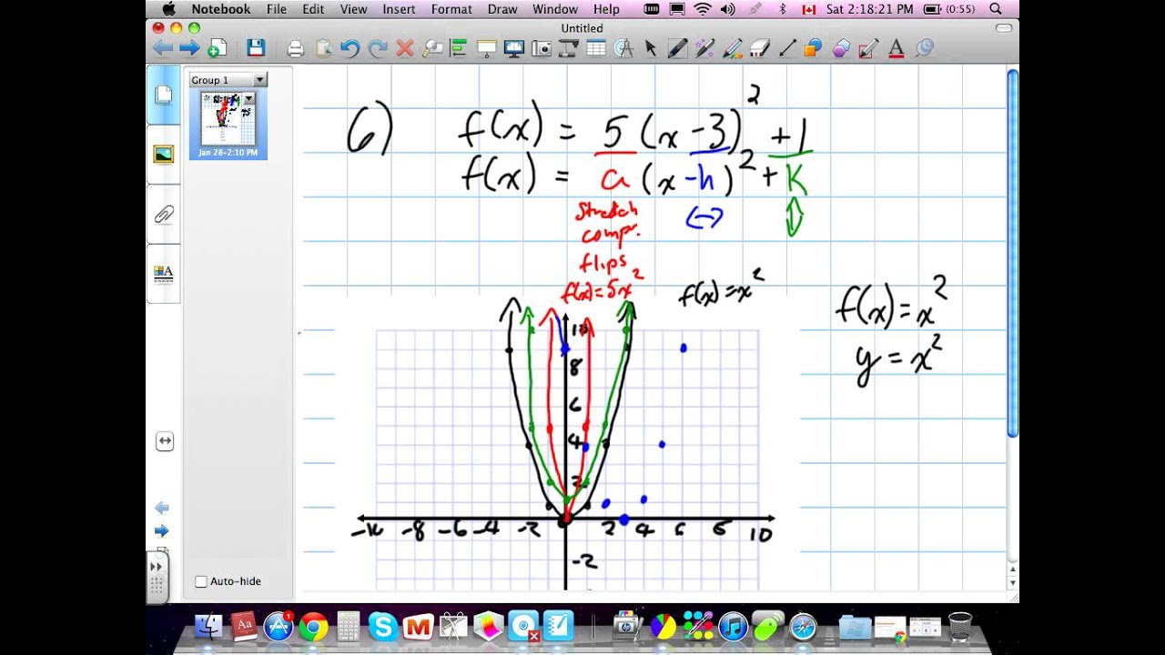 Transforming And Graphing Quadratic Functions Grade 11 Mixed Chapter