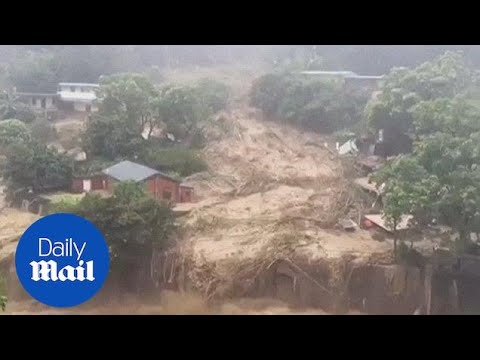 Typhoon Soudelor causes massive landslides in Taiwan - Daily Mail