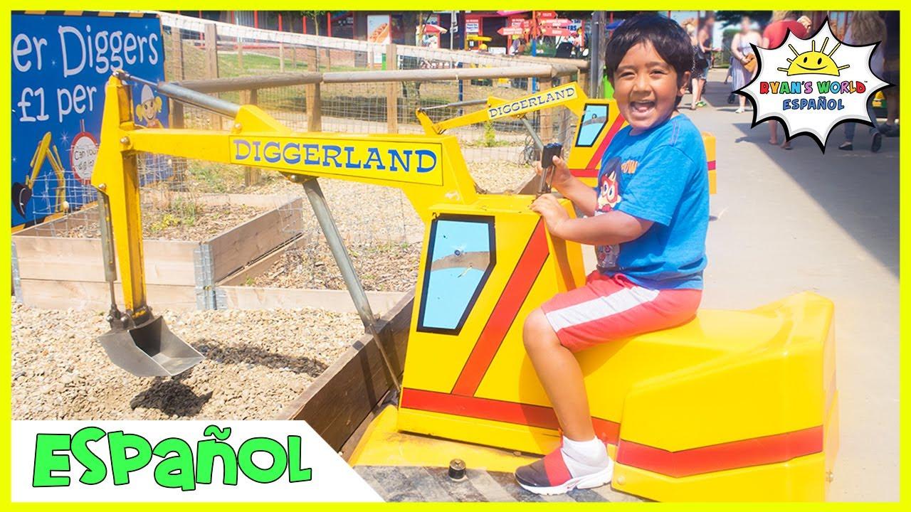 Vehículos de construcción Parque temático de atracciones Diggerland para niños con Ryan