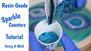 Blue Sparkle - Resin Geode Agate Coaster Tutorial Using a Mold