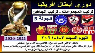 ترتيب مجموعات دوري ابطال افريقيا 2021 وترتيب الهدافين اليوم السبت 3-4-2021 الجولة الخامسة 5