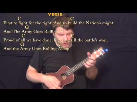 The Army Goes Rolling Along - Ukulele Cover Lesson in C with Chords/Lyrics