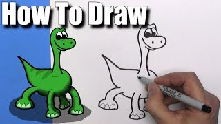 How to Draw Cute Cartoon Arlo from The Good Dinosaur - EASY Chibi - Step By Step - Kawaii