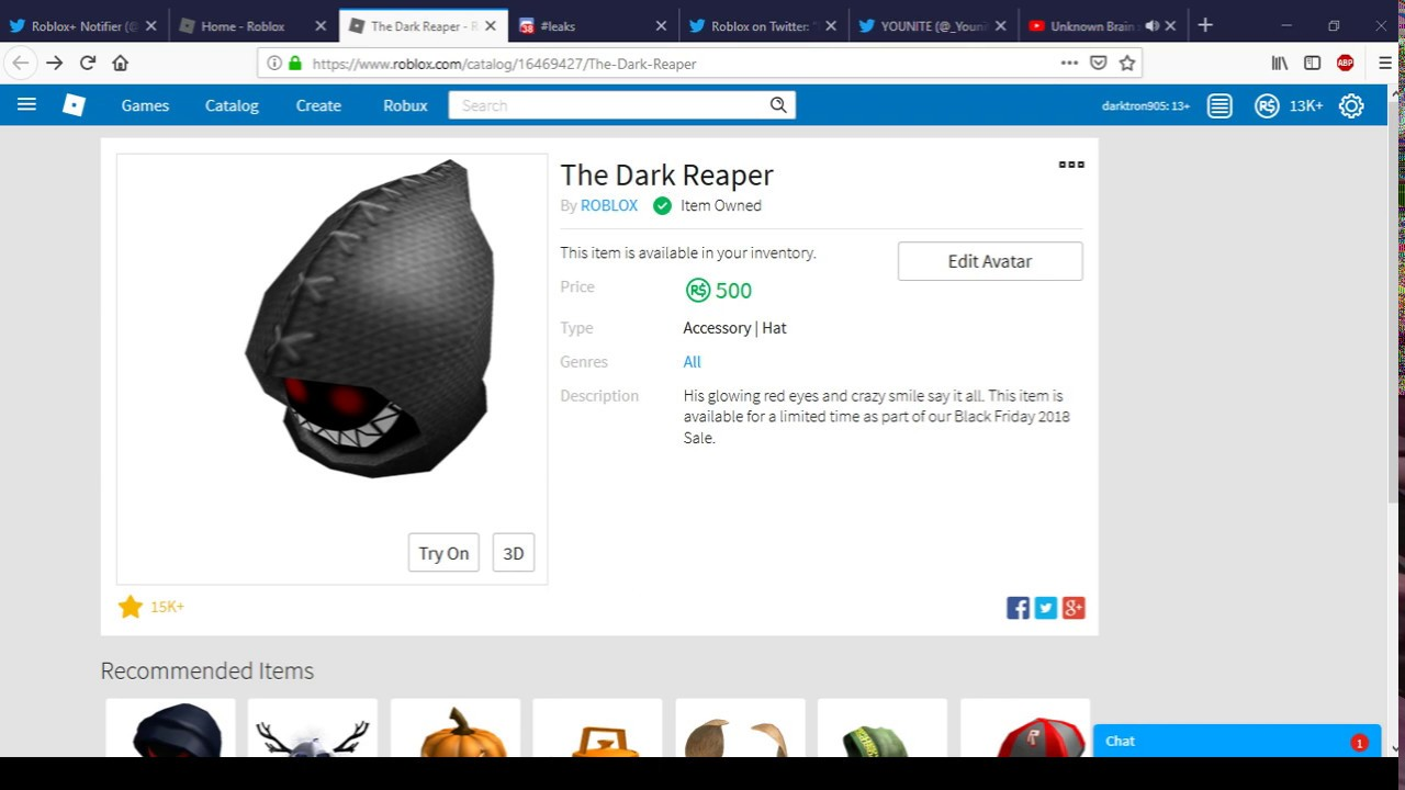 The Dark Reaper Is Back On Sale Roblox Black Friday Sale 2018