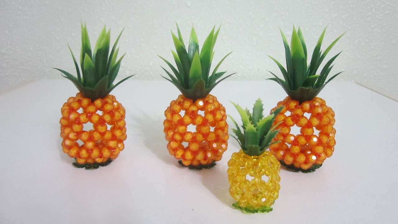 CNY TUTORIAL NO. 35 - Bead Craft (Sitting Pineapple) - YouTube