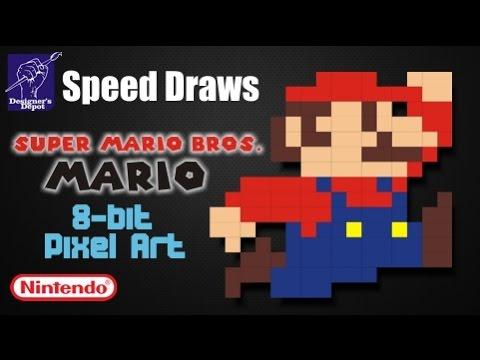 Super Mario Bros. -  Mario 8 bit Pixel Art Speed Draw