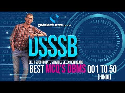 DSSSB KVS PGT Computer Science Best MCQ's DBMS Q01 to 50 (Hindi)