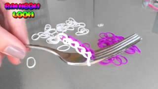 Как плести простой браслет из резинок на вилке