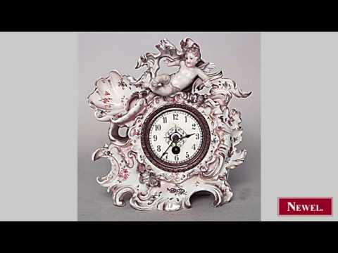 Antique German Dresden porcelain small desk clock with
