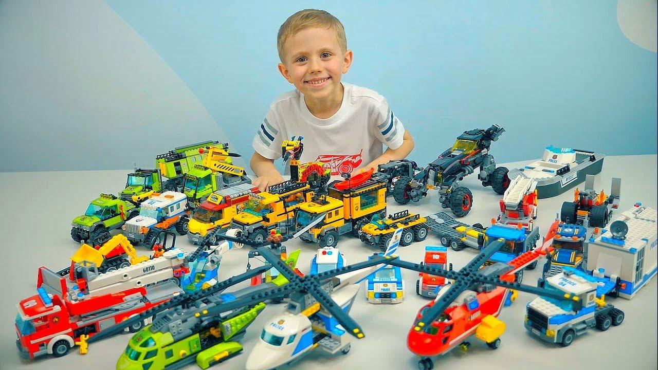 Машинки Лего Сити БОЛЬШОЙ Lego ОБЗОР - Полицейские и Пожарные #Машинки. Исследователи вулканов