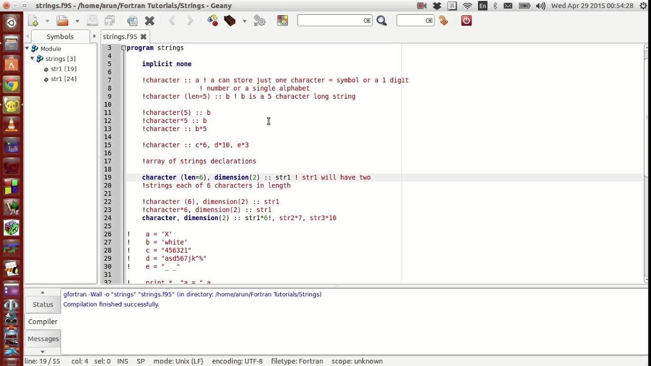 Fortran Programming Tutorials (Revised) : 015 : Characters, Strings, String  Arrays