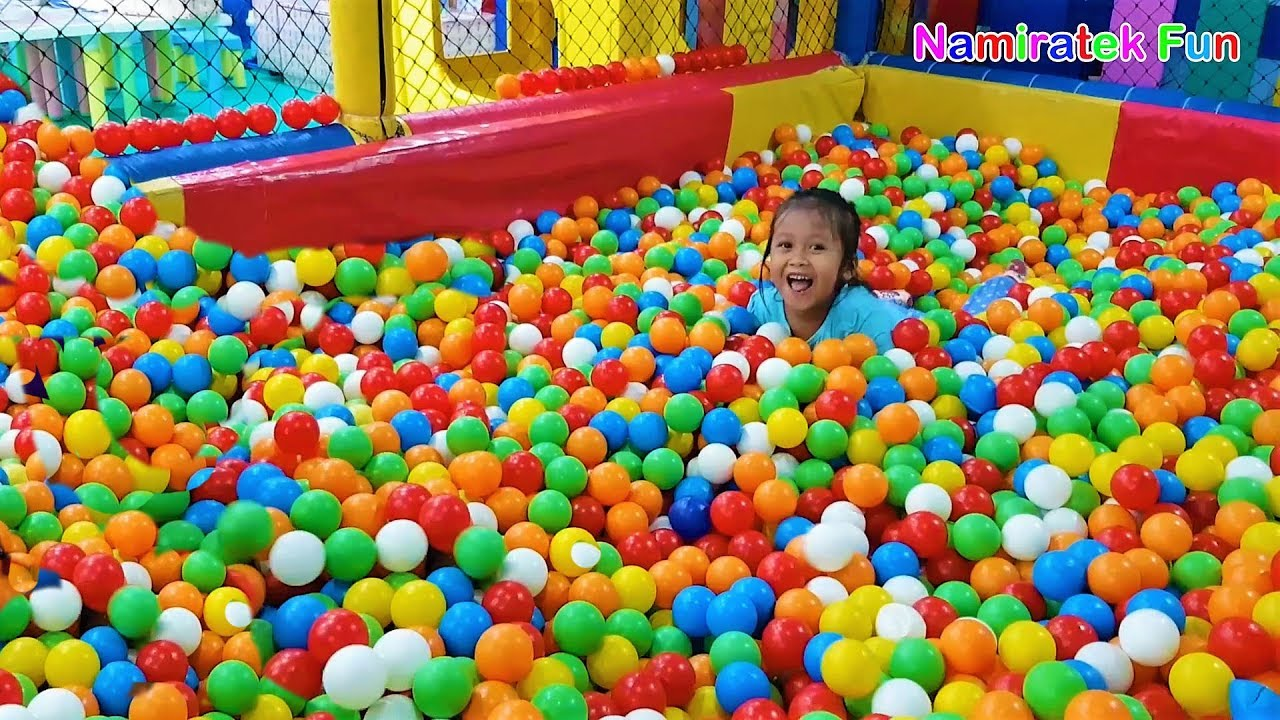 Swimming on Balls Pits bee bee land exclamation ride odong-odong car ride  children seesaw horse