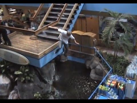 Stunt Jump at mall causes public disturbance