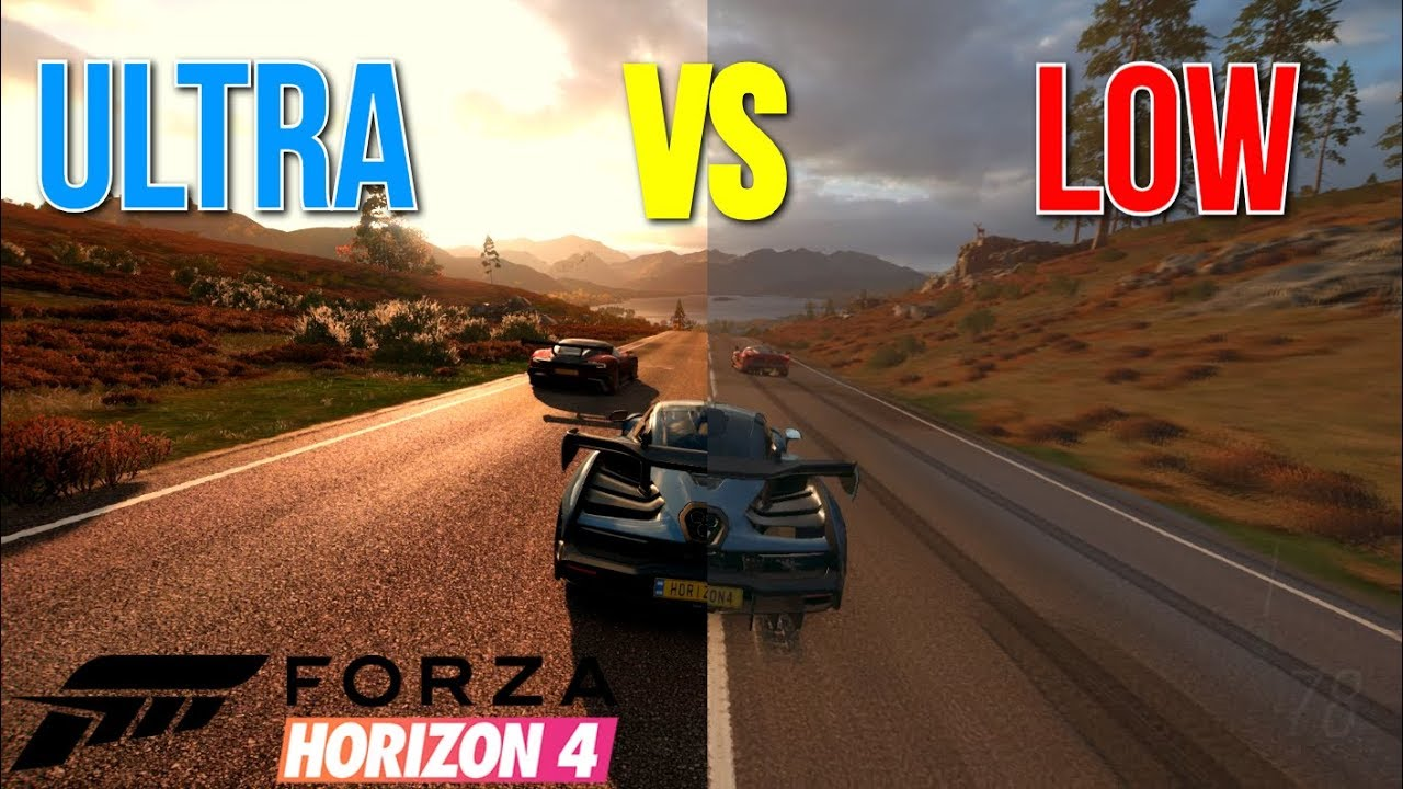 forza horizon 4 pc ultra vs low graphics comparison. Black Bedroom Furniture Sets. Home Design Ideas