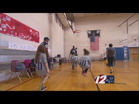 Pats players run event at a Foxboro school