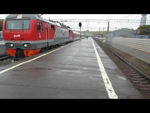 Электровоз ЭП2К-249 с фирменным поездом №001И Москва – Волгоград отправляется с Павелецкого вокзала