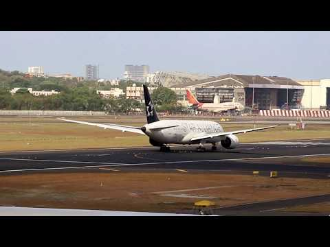 Air India in Star Alliance livery taking off from Mumbai