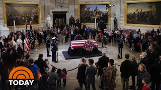 President George H.W. Bush Lies In State At Capitol   TODAY