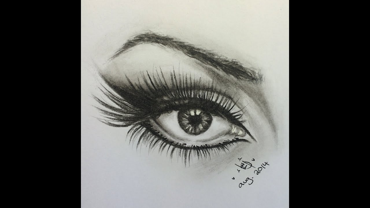 Drawing eye with eye liner