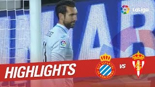 Resumen de RCD Espanyol vs Sporting de Gijón (2-1)
