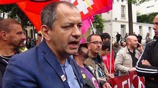 Pascal Pavageau (Force Ouvrière), lors de la manif du 5 juillet 2016