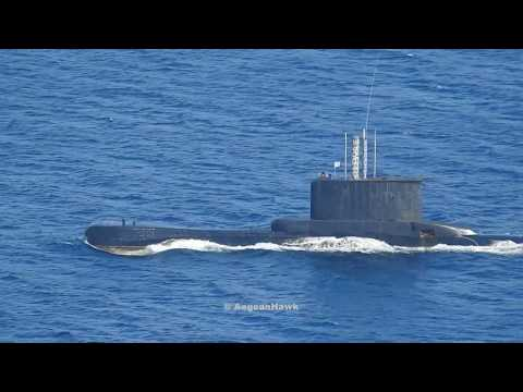 Hellenic Navy Poseidon class Submarine and HSY56 class Gunboat near Oinousses islands.