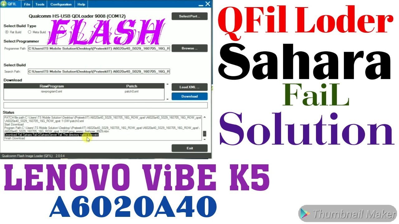 Lenovo Vibe K5 A6020a40 Flash With Sahara fail Solution